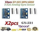TECNOIOT 2pcs GY-521 MPU-6050 mpu6050 Module 3 Axis analog gyro sensors Accelerometer Module | 2 stücke GY-521 6DOF MPU-6050 3 Achsen Beschleunigungsmesser und Schalten Modul für Arduino