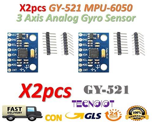 TECNOIOT 2pcs GY-521 MPU-6050 mpu6050 Module 3 Axis Analog gyro sensors Accelerometer Module | 2pcs GY-521 6DOF MPU-6050 Accelerometro a 3 Assi e modulo di Rotazione per Arduino