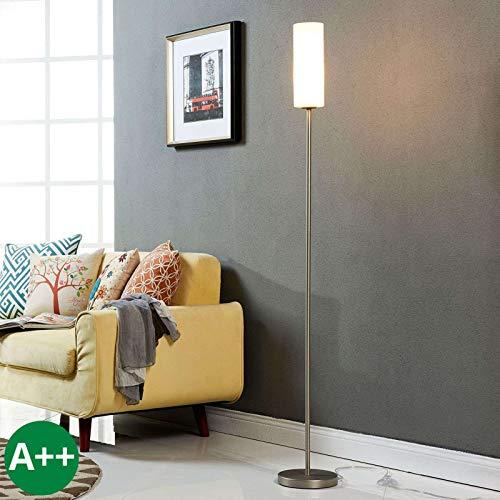 Lampenwelt Stehlampe 'Vinsta' (Modern) in Weiß aus Glas u.a. für Schlafzimmer (1 flammig, E27, A++) - Stehleuchte, Standleuchte, Floor Lamp, Wohnzimmerlampe, Schlafzimmerleuchte -