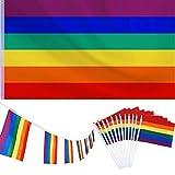 150 x 90 cm Große Polyester Hängende Regenbogen Homosexuell Lesben Flagge mit 1 Stück Banner Bunting Flags und 12 Stück Kleine Regenbogen Flagge für LGBT Pride Parade Festival Party Dekorationen
