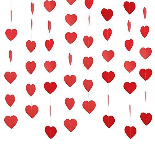 Giorno di san valentino cuore ghirlanda rosso carta cuore da appendere centro commerciale finestra display festa decorazione ghirlanda foto puntelli sfondo, 6 trefoli