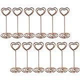 Bememo 12 Piezas Clip de Nota Soporte de Foto Número de Mesa en Forma de Corazón Pinza de Paper Tarjeta para Fiesta de Boda (Dorado Rosado)
