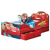 Kinderbett mit Schubladen Disney Cars 140x70cm - Kleinkinderbett mit stabilem Rausfallschutz