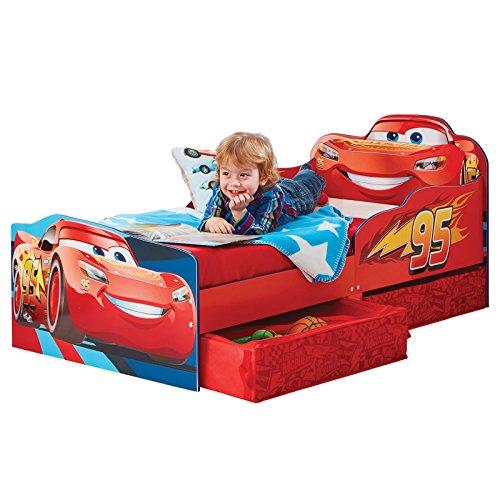 *Kinderbett mit Schubladen Disney Cars 140x70cm – Kleinkinderbett mit stabilem Rausfallschutz*