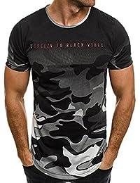 9eaaf32db536 VEMOW Sommer Mode Persönlichkeit Camouflage Männer Täglich Cool Casual  Schlank Kurzarm-Shirt Top…