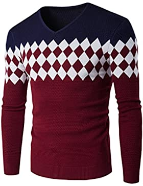 WTUS Crew Knit,Suéter Cuello en V de Moda para Hombre,Gris