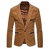 iHENGH Automne Hiver Hiver Casual Velours Côtelé Slim À Manches Longues Manteau Costume Veste Blazer Top(FR-64/CN-3XL,Kaki)