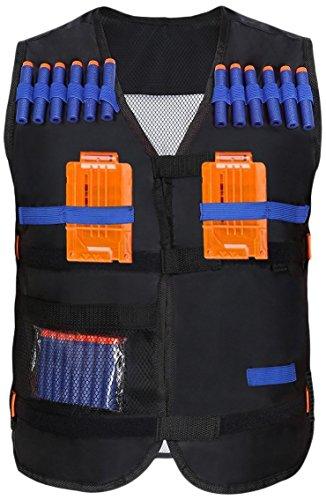 Yosoo Childrens Enfants Elite Tactical Vest pour Nerf Gun N-strike Elite Series (Gilet noir+20PCS balles sans chargeurs)