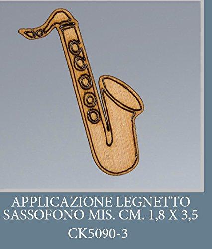 Confezione 50 pezzi, Bomboniera applicazione SASSOFONO, legnetto, dimensione cm 1.8X3.5, x segnapos