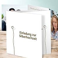 Einladungskarten Silberhochzeit Online Bestellen, Zwei Im Glück 20 Karten,  Doppelklappkarte 145x145 Inkl. Weißer