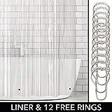 mDesign Vinyl Badewannenvorhang – wasserdichter Duschvorhang inkl. 12 Ringe – langer Vorhang für Dusche und Badewanne – 100% Vinyl – transparent
