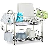 Relaxdays Egouttoir à vaisselle 2 étages porte couvert inox grille assiette HxlxP: 39,5 x 60 x 22 cm, argenté