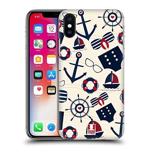 Head Case Designs Rosa E Verde Estate Nautica Cover Retro Rigida per Apple iPhone X Colore Nautico