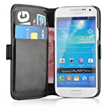 JAMMYLIZARD | Luxuriös Wallet Ledertasche Hülle für Samsung Galaxy S4 Mini, SCHWARZ