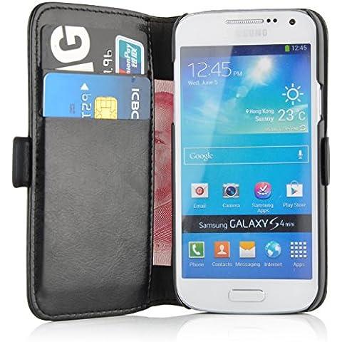 JAMMYLIZARD Funda De Piel Para Samsung Galaxy S4 MINI Luxury Wallet Tipo Cartera, NEGRO