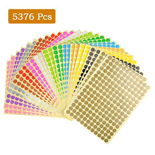 Yotino 28 pezzi etichette rotonde adesive, 10mm piccola rotonda autoadesivi diversi colorati, 14 colori punto adesivi (totale 5376 punti)