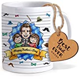 TIED RIBBONS Gift For Dad | Fathers Day Gifts For Dad | Fathers Day Gifts | Printed Coffee Mug With Wooden Tag