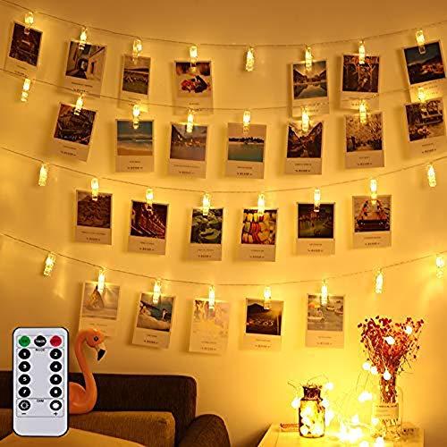 LED Foto Clips Lichterkette Batterie 40 Photo Clips 5M Warmweiß Lichterketten mit Fernbedienung Dimmbar Wasserfest 8 Funktionstyp für Außen Innen (Mini-licht-girlande)
