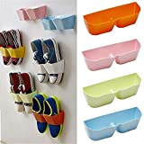 House of Quirk Plastic Wall Mounted Shoes Holder Sticky Hanging Strips Door Storage Organizer (Multicolour, Standard Size) - Set of 3