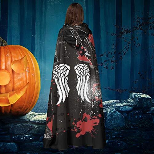 AISFGBJ Walking Dead Daryl Dixon Flügel und Armbrust Unisex Weihnachten Halloween Hexe Ritter Kapuzenmantel Vampir Umhang Cosplay Kostüm