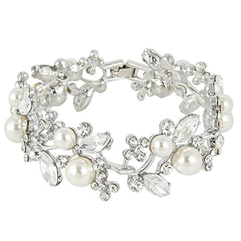 EVER FAITH® österreichischen Kristall künstlich Perl Blume Braut Armband Silber-Ton