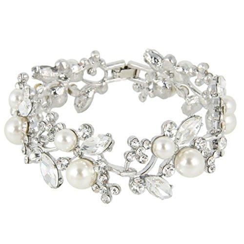 EVER FAITH® österreichischen Kristall künstlich Perl Blume Braut Armband Silber-Ton klar N04335-2 (Blumen Teppich Moderne)