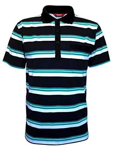 Kurzarm Poloshirts, Herren Polohemden im Ringelook Baumwollmischung Schwarz