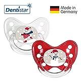 Dentistar®® Winter Kollektion Schnuller 2er Set inkl. 2 Schutzkappen - Nuckel Silikon Größe 3 ab 14 Monate, zahnfreundlich & kiefergerecht - Nuggi für Babys - Bär & Schneemann