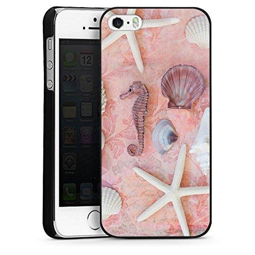 Apple iPhone 4 Housse Étui Silicone Coque Protection Hippocampe Coquillages Moules Étoile de mer CasDur noir