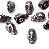 weddecor 9mm gunmetal Skull Head Punk Metall Nieten –, Zubehör für Leder Gürtel, Taschen, DIY Arbeit, Schuh, Designer Kleidung (100Stück), metall, gunmetal, 9 mm