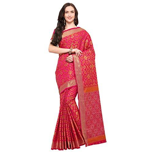 Janasya Women's Pink Silk Patola Saree With Unstitched Blouse (SR024-PTULS-101-PINK)