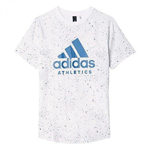 adidas Jungen YB Printed Tee Shirt, Weiß/Azubas, 164 (Athletic Hat Adidas)