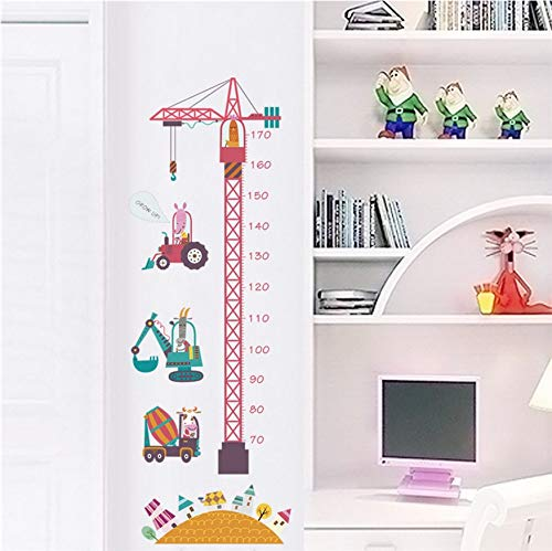 PAWANG Construction Worker Animals Growth Chart Wall Stickers for Kids Room Kindergarten Home Decoration Safari Mural Art DIY PVC Decal