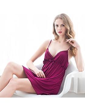 XYZHF**Pijama albornoz tiras y pijamas sexy homewear profunda v de algodón de verano femenina falda corta y cómoda...