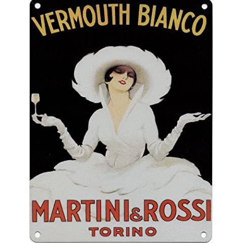 MARTINI & ROSSI VERMOUTH BIANCO Metal Enamel Advertising Wall Sign (SMALL 200mm X 150mm) by Original Metal Sign Co