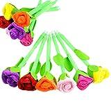 lumanuby 6Stück Bleistifte Rose Plüsch Pen für Kinder Geschenk Kindergarten Schule Schreiben Tools Kugelschreiber Farbe zufällige 0,7, ca. 23cm (Refills: Blau)