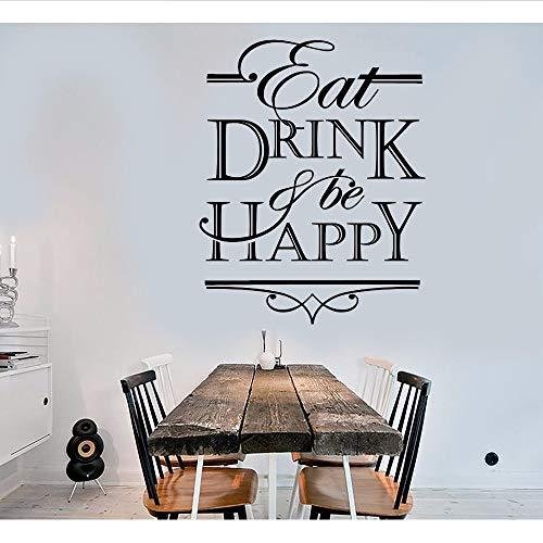 Xzfddn Vinyl-Wandtattoo Zitat Worte Essen Trinken Und Glücklich Sein Küche Dekor Aufkleber