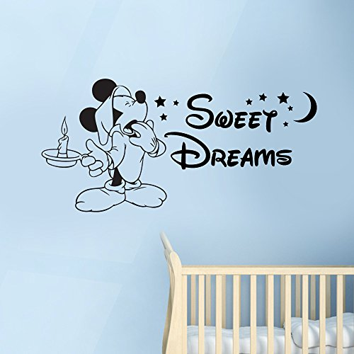 Awesome Disney Sweet Dreams Mickey Mouse Childrenu0027s Nursery Kidu0027s Bedroom Vinyl  Wall Art Sticker Decal Mural Transfer Stencil (Black)