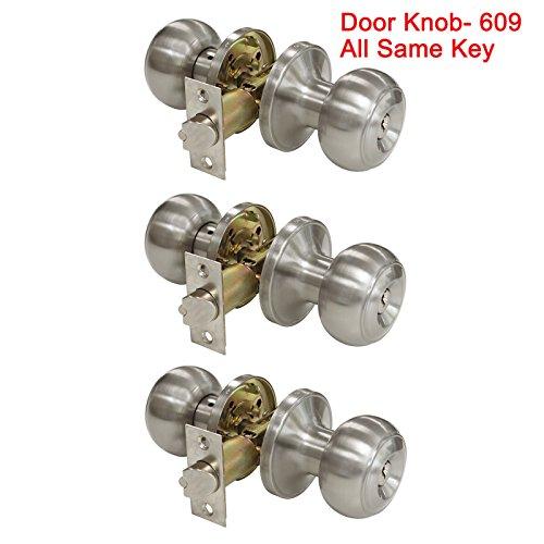 3PACK probrico Innen Schlafzimmer Eingang Tür Knäufe Tür Hebel Griff One Keilnut Eintrag gleichschliessend gleichen Schlüssel Tür Schloss Flanschbefestigung in Satin Nickel 3 Pack Door Knob-609 -