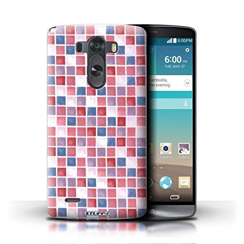 Kobalt® Imprimé Etui / Coque pour LG G3/D850/D855 / Bleu/Vert conception / Série Carreau Bain Rouge/Bleu