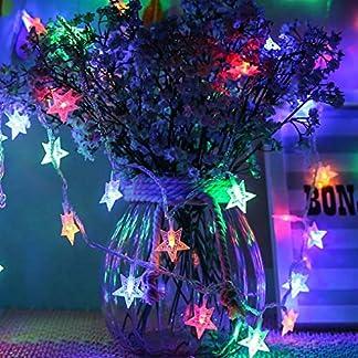 Galaxer Stella Fata Luci Led Stella Notte String Luce 20ft / 6M 40 Pz Due Modalità Monochrom e Splendente Decorazione Luce Impermeabile Bianco Caldo AA Alimentato a Batteria