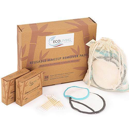 18 wiederverwendbare Make-up-Pads aus Bambus-Baumwolle - Reinigungsrunde für das Gesicht - inkl. 200 Bambus-Baumwollstäbchen und Wäschesack