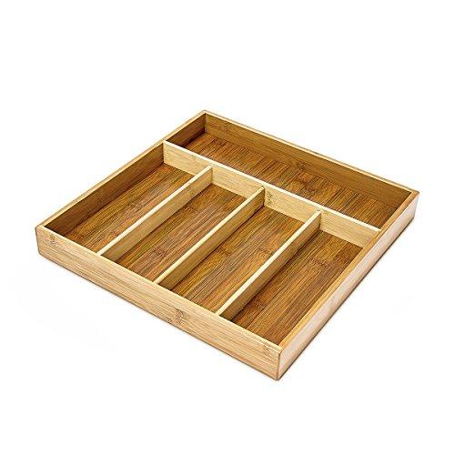 Relaxdays Besteckkasten mit 5 Fächern HxBxT: ca. 4 x 34 x 33,5 cm Besteckeinsatz aus Bambus als Schubladenorganizer und Besteckeinlage großer Schubladenkasten aus Holz pflegeleichte Besteckbox, natur