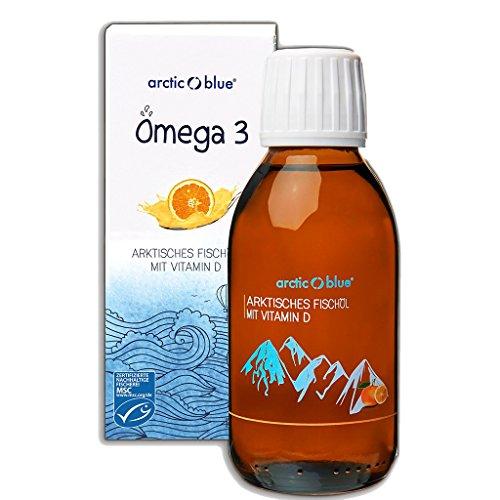 Arctic Blue® MSC Omega 3 Fischöl Fettsäuren mit Orangengeschmack mit Vitamin D - 1000mg Omega-3 pro Teelöffel- hochdosiert DHA & EPA | Jetzt online kaufen (250ml) -