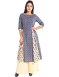 Teej Womens New Pattern Frock Style Flare Anarkali Cotton Kurti
