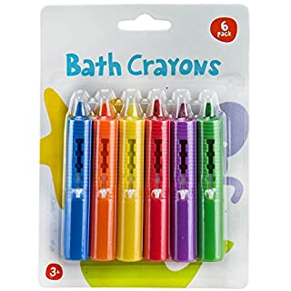ASAB 6 Pack Baby Bath Crayons Non Toxic Education Fun Toy Easy Washable Wipe Clean Develop Creativity And Imagination Ages 3 Years +