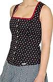 Trachten Landhaus Mieder Corsage ELBE mit Schößchen Baumwolle Stretch von Spieth & Wensky, Größen:32;Farbe:schwarz - rot