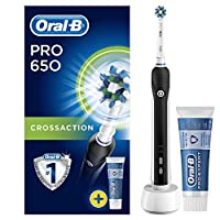 Oral-B Pro 650 CrossAction Electric Rechargeable Toothbrush and Case - Powered by Braun - Black (Packaging May Vary)