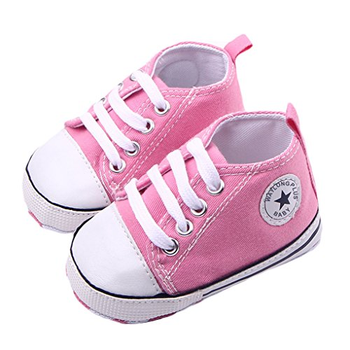 WAYLONGPLUS Infant Cute Canvas Sneaker Toddler Prewalker Anti-skid Soft Trainer Shoes (Pink, Size11) by WAYLONGPLUS rose