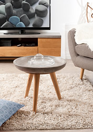 Macabane Table d'appoint Ronde, Chene Clair/Beton, 50 x 50 x 45,5 cm